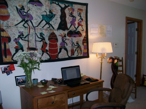 My writing space: Centered by an African batik.