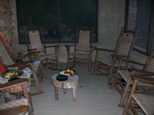 My favorite place to sit: Circle of Hambidge rocking chairs.