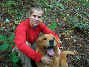 Lexi & Cooper, during a hike on Hambidge trails.
